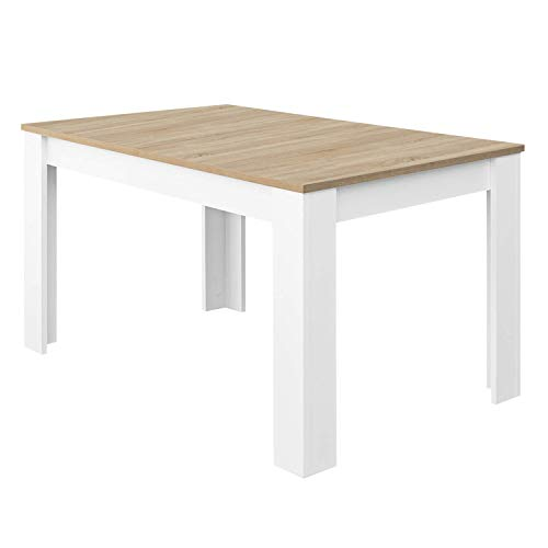 Habitdesign Mesa de Comedor Extensible, Mesa salón o Cocina, Acabado en Color Blanco Artik y Roble Canadian, Modelo Kendra, Medidas: 123-173 cm (Largo) x 75 cm (Ancho) x 78 cm (Alto) ✅