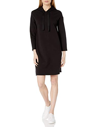 Amazon Brand - Daily Ritual Women's Terry Cotton and Modal Bracelet-Sleeve Sweatshirt Dress, Black, X-Large