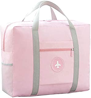 CAREMORE Unisex's Spirit Airline Personal Item Carry-on Bag Lightweight Fodable Waterproof Duffel Travel Bag Luggage Bag 18''x 14'' x 8'' (Pink-Double Layer)