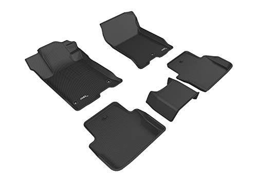 3D MAXpider Complete Set Custom Fit All-Weather Floor Mat for Select Acura TLX Models - Kagu Rubber (Black)