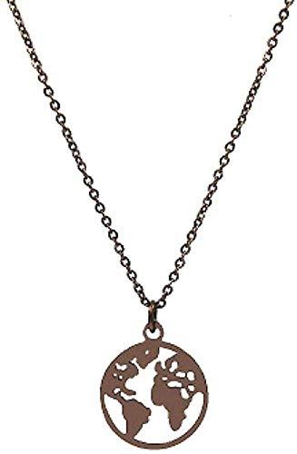 ZGYFJCH Co.,ltd Halskette Schmuck Frauen Edelstahl Herz Globus Weltkarte Halsketten Ohrringe Reise Outdoor Erde Halsketten Kaffee Farbe Geschenk