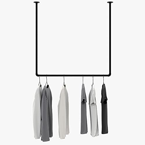 pamo Decken Kleiderstange im Vintage Industrial Design – Deckenhänger für Kleiderbügel in schwarz aus Wasserrohre