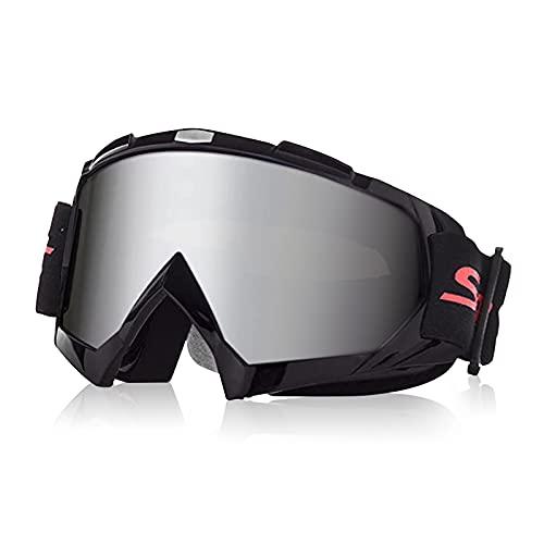 Galatée Motocross Vidrios a Prueba de Viento UV Goggle para Esquí, Patinaje, Escalada, Camping, Carreras, Gafas para el Polvo, Resistentes al Viento (Lente plateado - marco negro)