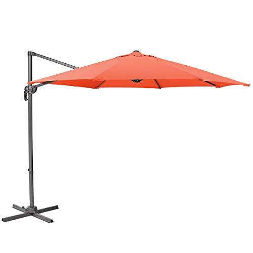 SVITA Sonnenschirm 3m grau beige orange Taupe Durchmesser Garten Ampelschirm Outdoor 360° Schirm Alu drehbar kippbar (Orange)