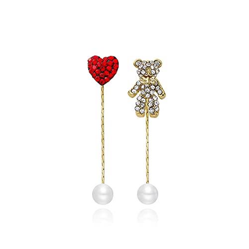 Pendientes de botón con personalidad de oso asimétrico lindo S925 Pendientes de perlas largos con forma de corazón rojo con aguja de plata y diamantes Pendientes de moda