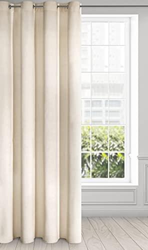 Eurofirany Ria Cortina de Terciopelo Suave con Ojales, 1 Unidad. Elegante, Glamour Dormitorio, salón, Beige Claro, 140X250cm
