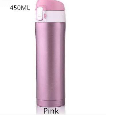 AIYASIWEI Individuelle Werbegeschenke Thermobecher Thermos-Becher-Vacuum Cup Edelstahl 304 Insulated Becher 450ML Thermoflasche Thermosflaschen Vakuumflasche Wasserflasche (Color : Pink)