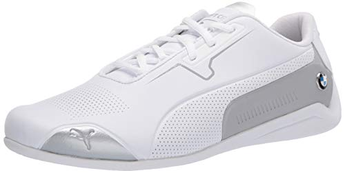 PUMA unisex adult Bmw Mms Drift Cat 8 Sneaker, Puma White-puma Silver, 8.5 US