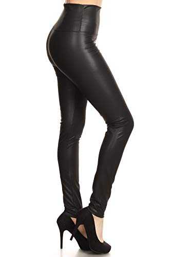FXLD-Black-M Faux Leather High Waist Stretchy Leggings, Medium