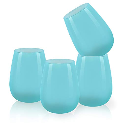 Colored Wine Glasses Set of 4, Colorful Stemless Wine Glass for Red Wine, Coffee, Tea, Water, Cocktail, Juice - Ideal Gift for Women, Men, Best Friends, Sisters, Coworkers (Dark Blue, 15Oz)