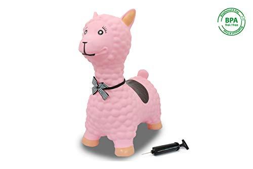Jamara 460543 Hüpftier Lama rosa mit Pumpe-bis 50 kg, fördert den Gleichgewichtssinn und die motorischen Fähigkeiten, robust und widerstandsfähig, pflegeleicht