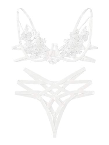 SheIn Women's Floral Cut Out Lingerie Bra and Panty Set Lace Sexy Two Piece Medium White