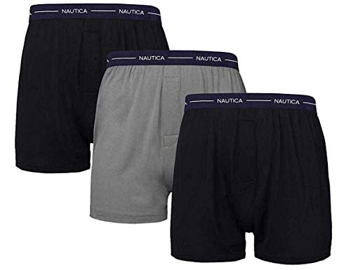 Nautica Men's Boxer Modal Cotton Fit Boxer with Functional Fly Tagless, 3 Pack (Medium, Black-Black- Grey)