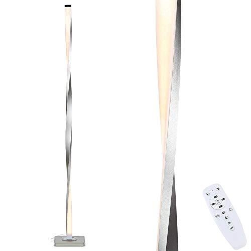 FREELT Lámpara de Pie LED Moderna Regulable con Control Remoto, Lámpara de Pie de Diseño para Sala de Estar Oficina, Plata, 120 cm