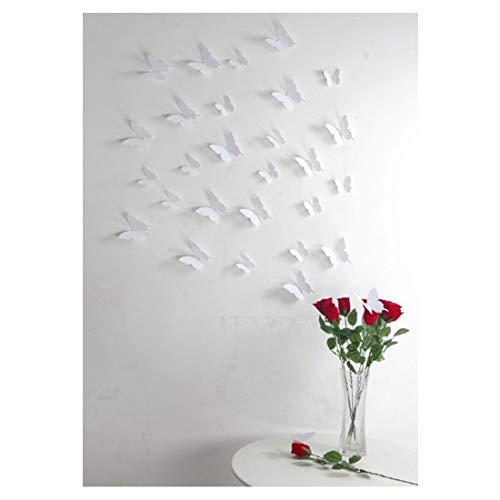 Ambiance-Live White Kit di Adesivi 12 Farfalle 3D Plastica, Bianco