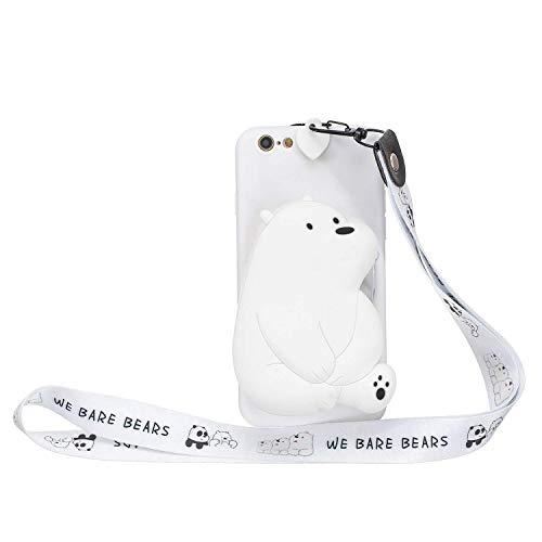 LAXIN Funda de silicona para iPhone 6 Plus/iPhone 6S Plus, diseño de oso polar con diseño colorido de mariposa, para niñas y niños