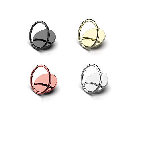 Jsdoin 8 anillos de teléfono soporte de dedo giratorio 360° mango de anillo de metal apto para soporte magnético de coche, compatible con todos los teléfonos inteligentes, oro rosa, oro, plata, negro