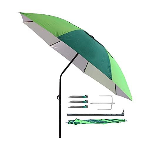 Riyyow Parasol Umbrella 6.6FT Pesca Playa Paraguas, Viaje Casual Paraguas a Prueba de Viento para Vacaciones, Paraguas Junto a la Piscina con Ancla de Arena e inclinación