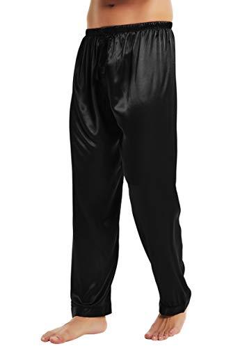 Lonxu Mens Silk Satin Pajamas Pyjamas Pants Sleep Bottoms Black L
