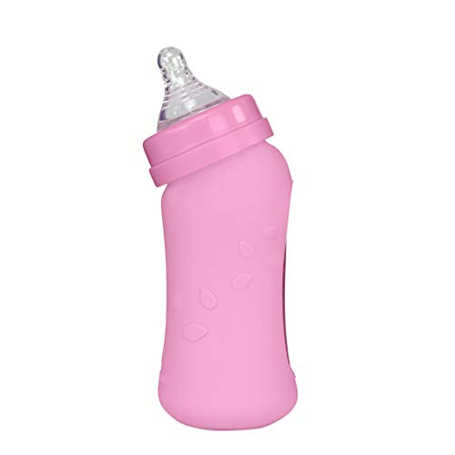 Why Choose green sprouts Baby Bottle Made from Glass with Silicone Cover | Angled Neck + Vented Nipp...
