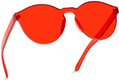 WearMe Pro - Colorful Transparent Round Super Retro Sunglasses (Red, 58)