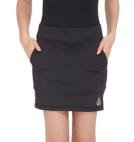 DOMICARE Women Active Athletic Skorts with Pockets - Lightweight Quick Dry Skirt with Short for Workout Sports, M, Black