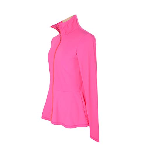 Jolie vestibilità Slim Giacca da Pattinaggio Artistico Alta Elasticità Formazione Concorrenza Abbigliamento da Pattinaggio Termica/Caldo per Ragazze,Fuchsia,3XL