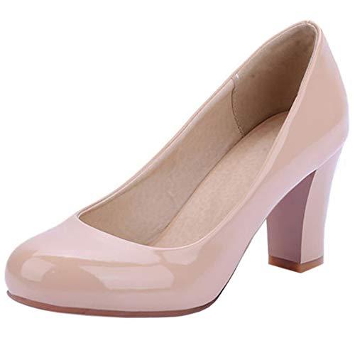 Lydee Mujer Clasico Pumps Zapatos Tacon Ancho Ponerse Fiesta Boda Zapatos Tacones...