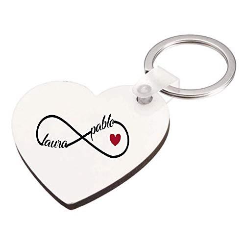 Kembilove Llavero Personalizado Pareja con Nombres - Llavero Personalizado Forma corazón con el Signo del Infinito con Nombres Color Rojo - Regalo Romántico Pareja, San Valentín, Aniversario