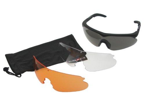 Swiss Eye Raptor Schutzbrille, Fassung -Rubber Black-, 3 Gläser, mit Antifog/Antiscratch [10161]
