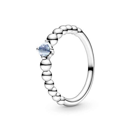 PANDORA Anillo 'perlas con cristal azul aguamarina', plata 198867C01