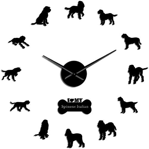 Reloj de pared italiano Spinone Grifón puntero de alambre grande DIY reloj de pared Bracco Spinoso perro acrílico espejo superficie mute movimiento reloj