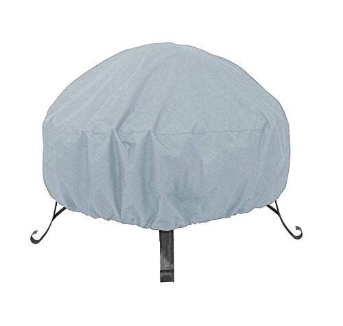 MeteorFlying Round Fire Pit Cover Garden Patio Protective Cover Breathable Waterproof Dustproof Heavy Duty Furniture Covers for Stove (85x40cm, Grey)