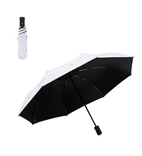 FBBULES Bärbart Fällbart Paraply Resesolparaply, Auto öppet/Stängt, med Svart UV-Beläggning, UPF50 +, Halkskydd, för Regniga Soliga Dagar