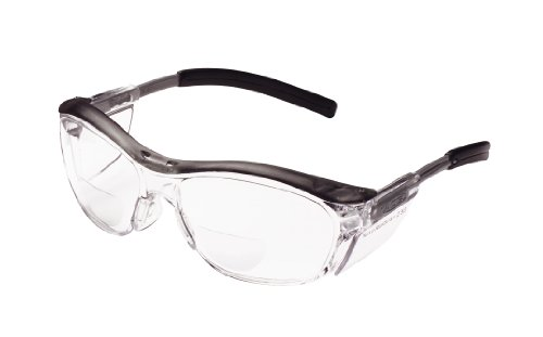 3M Safety Glasses with Readers, Nuvo Protective Eyewear, +2.5, ANSI Z87, Gray Frame, Clear Lens, Soft Nose Bridge, Side Shields