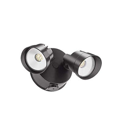 Lithonia Lighting OVFL LED 2RH 40K 120 PE DDBM4 Security Floodlight, 4000K 120V Dusk-to-Dawn Photocell, 2 Heads, Square, Dark Bronze