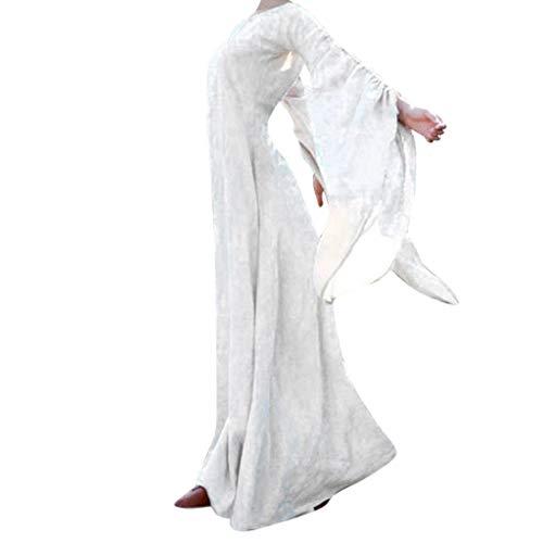 Writtian - Vestido largo para mujer, estilo casual, para Halloween, calabaza, diablo, cuello redondo, cosplay, disfraz medieval, vintage, vestido grande, Mujer, blanco, small