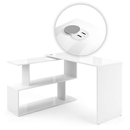 Vicco Eckschreibtisch Schreibtisch Computertisch Levia mit USB Ladestation Hub (Weiß Hochglanz)
