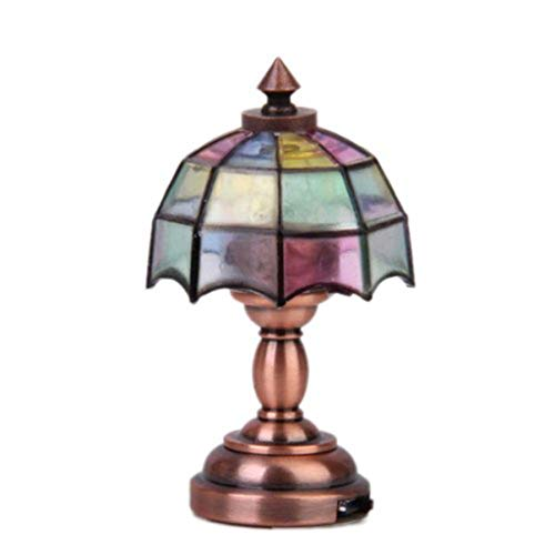 VOSAREA 1/12 Puppenhaus Miniatur Regenschirm Form Lampenschirm LED Schreibtischlampe Büro Tisch Lesen Bücher Lampe Auf Dem Tisch Dekoration Licht