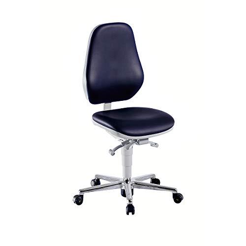 bimos Reinraum-Arbeitsstuhl - mit Rollen - Kunstlederbezug mit Permanentkontakt und Sitzneigungsverstellung - Arbeitsdrehstuhl Arbeitsstuhl Drehstuhl ESD-Arbeitsstuhl Laborarbeitsdrehstuhl