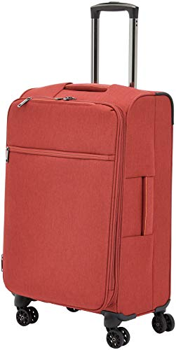 AmazonBasics Belltown, Softside Expandable Luggage Spinner Suitcase with Wheels, 26 Inch, Red