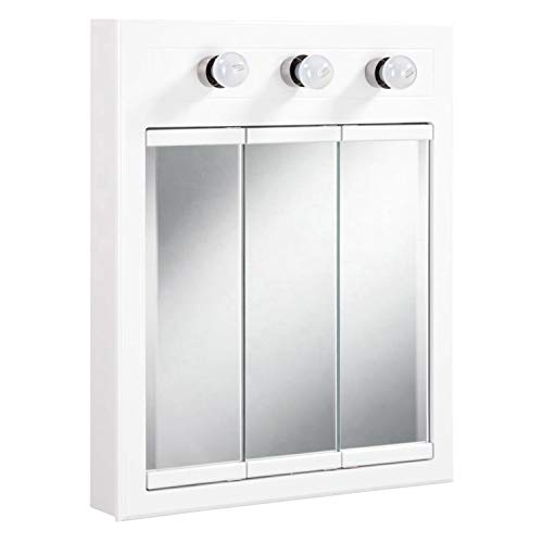 Design House 532374 Concord Lighted Tri-View Mirrored Medicine Cabinet, White, 24'