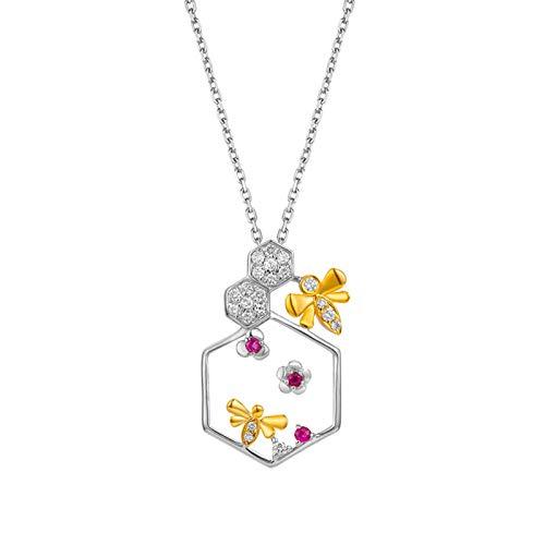 AtHomeShop Collar de oro blanco de 18 quilates para mujer con colgante de diamante blanco, cadena de mujer con forma de abeja, joya de oro auténtico con caja de joyas – plata y oro