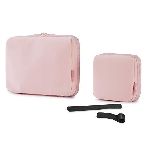 BAGSMART Cable Electronic Organizer 2Pcs Travel Packing Gadgets Bag Pouch for 7.9 inch ipad, Cables, Mouse, Phone, USB, SD Card (Pink)