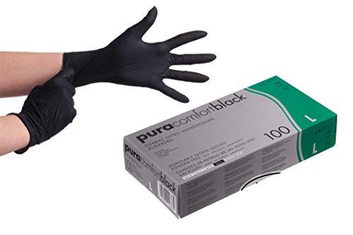 Pura Comfort Black Nitrilhandschuhe 100 Stück Box (L, Schwarz) Einmalhandschuhe, Einweghandschuhe, Nitrilhandschuhe Schwarz