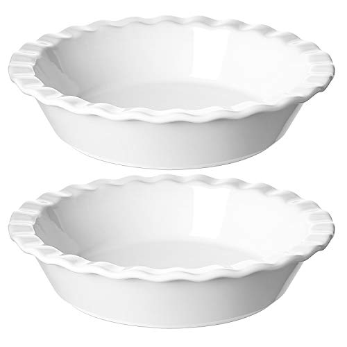 LE TAUCI Ceramic Pie Pans for Baking, 9 Inches Pie Plate for Apple Pie, Pecan Pie, 52 Ounce Deep Pie Dish, Set of 2, White