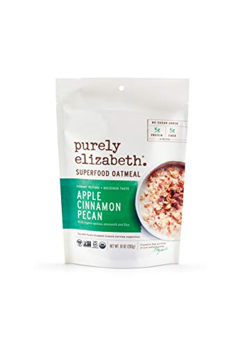 purely elizabeth Superfood Oatmeal, Gluten-Free, Non-GMO Project Verified, 100% Vegan & Packed with Protein & Fiber, Apple Cinnamon Pecan, 10 Ounce