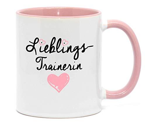 Nice-Presents-de Tasse Lieblingstrainerin Hochwertige Tasse für die zuverlässige Trainerin in Beruf, Schule oder Sport, beidseitig Bedruckt. Tolles Gesechenk zu jeder Gelegenheit. (Rosa)