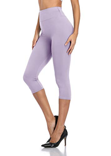 Garnet Gravley High Waisted Yoga Capri Leggings for Women Workout Cropped Pants Running Leggings Tights Solid Color Lavender
