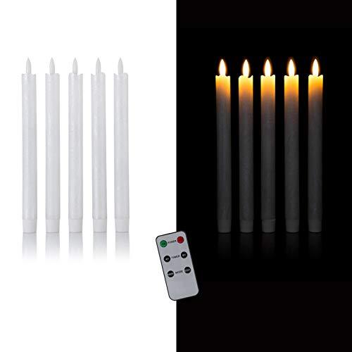 DbKW (Weiß mit Glanzeffekt) 5er Set LED Stabkerzen in Echtflammen-Optik mit Fernbedienung und 4/8 Stunden Timer aus Echtwachs. Neustes Modell! Flackereffekt und Standlicht. Tafelkerzen Kerzen